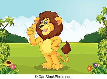 dar, leão, polegar cima, caricatura