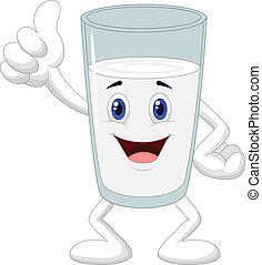 dar, leite vidro, polegar, caricatura