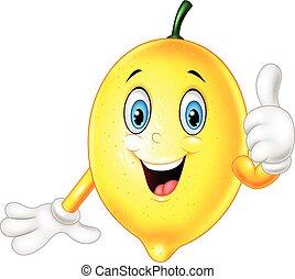 dar, limão, cima, polegares, caricatura