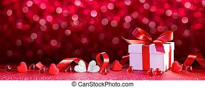 dar, list miłosny, -, giftbox, serca, wstążka