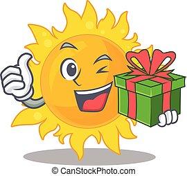dar, litera, posiadanie, uśmiechnięte słońce, boks, lato, rysunek, zielony