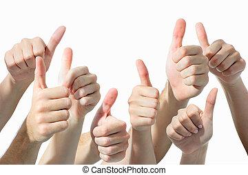 dar, mãos cima, polegares