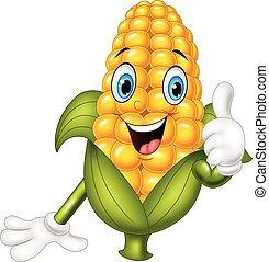 dar, maíz, pulgares arriba, caricatura