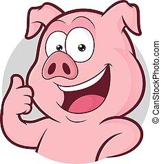 dar, marco, arriba, cerdo, pulgares, redondo