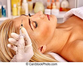 dar, mujer, botox, injections.