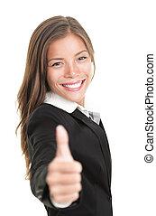 dar, mujer de negocios, pulgares arriba