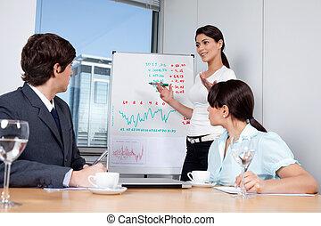 dar, mujer, presentación, empresa / negocio