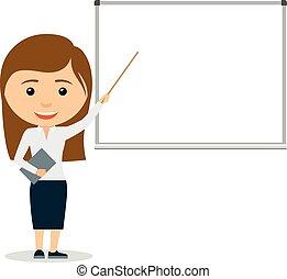 dar, mulher, apresentação, jovem, negócio