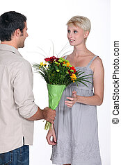 dar, mulher, flores, homem