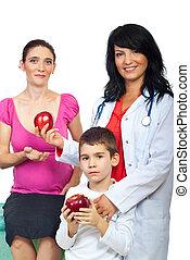 dar, mulher, maçãs, doutor familiar
