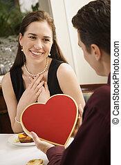 dar, mulher, valentine., homem
