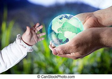 dar, mundo, a, novo, geração, -