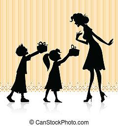 dar, niños, regalo, madre