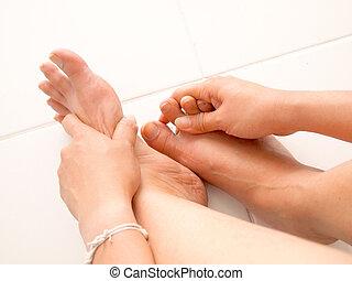 dar, nu, fêmea passa, caminhe massagem
