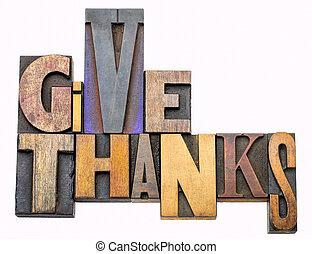 dar, obrigado, -, palavra, abstratos, em, madeira, tipo