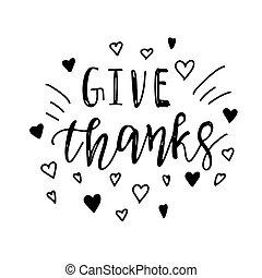 dar, obrigado, positivo, citação, ação graças, lettering.