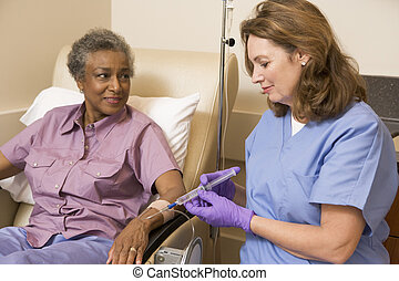 dar, paciente enfermeira, injeção