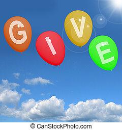 dar, palavra, ligado, balões, mostra, caridade, doações, e,...