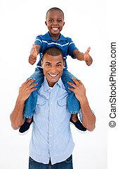 dar, passeio, pai, filho, piggyback, feliz