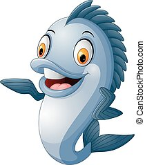 dar, peixe, polegar cima, caricatura