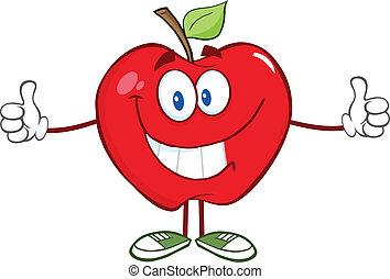 dar, personagem, maçã, polegar cima