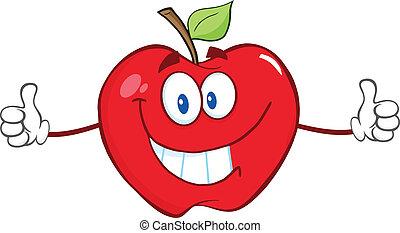 dar, personagem, maçã, polegares cima