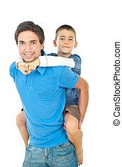dar, piggyback, seu, pai, filho
