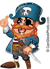 dar, pirata, caricatura, cima, polegar