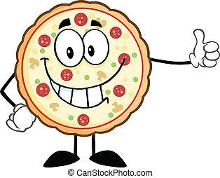 dar, pizza, pulgar, sonriente, arriba