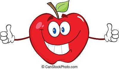 dar, polegar, maçã, vermelho, cima