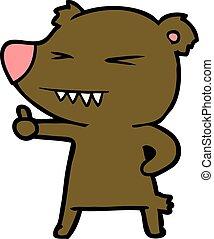 dar, polegares cima, urso, caricatura