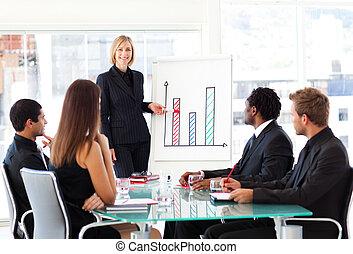 dar, presentación, mujer de negocios