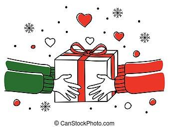 dar, presente natal, mãos