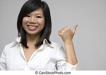 dar, pulgares arriba, asiático, sonriente, mujeres