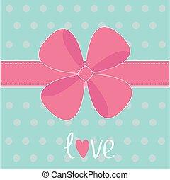 dar, różowy, cielna, łuk, ribbon., miłość, card.