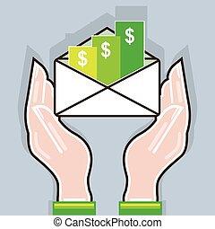 dar, recebendo, cheques, mãos