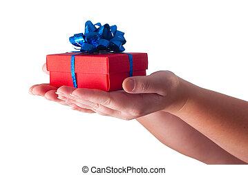 dar, regalo, manos