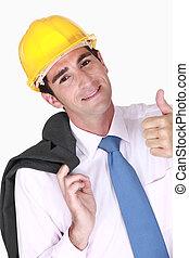 dar, selo, seu, engenheiro, aprovação