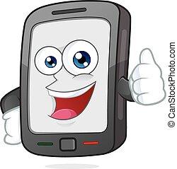 dar, smartphone, polegar cima