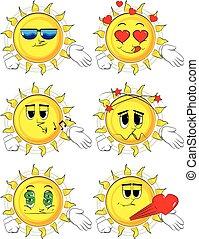 dar, sol, mão., caricatura