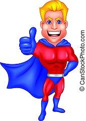 dar, superhero, cima, polegar, caricatura