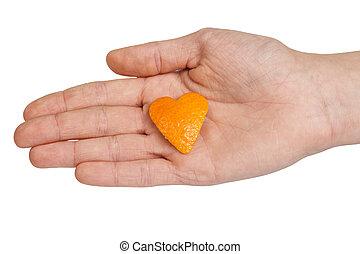 dar, tangerina, coração