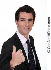 dar, thumb's, sorrindo, cima, homem negócios