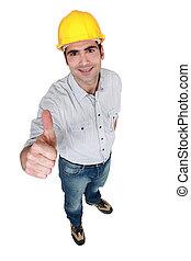 dar, thumb's, trabalhador construção, cima