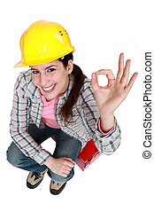 dar, um-tá bom, tradeswoman, sinal
