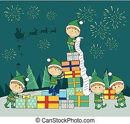 dar, uszczelka, przedstawia się, kabiny, boże narodzenie, elfy