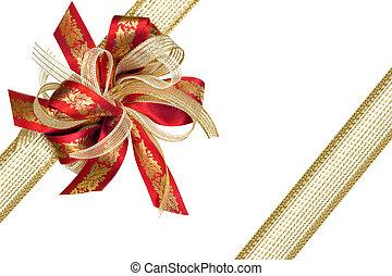 dar, złota wstążka, łuk, czerwony