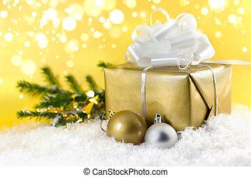 dar, złoty, boże narodzenie