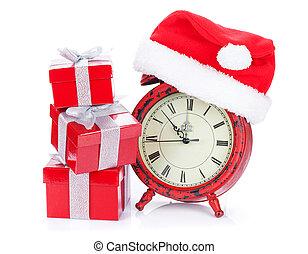 dar, zegar, kabiny, santa kapelusz, boże narodzenie