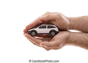 darabka, autó, elszigetelt, protection., háttér, kézbesít, kicsi, befedett, fehér, út